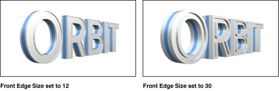 Canvas showing 3D text with Front Edge set to 12 and 3D text with Front Edge set to 30