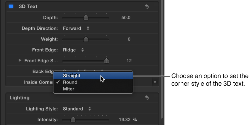 Appearance pane Text Inspector showing options in the Inside Corners pop-up menu