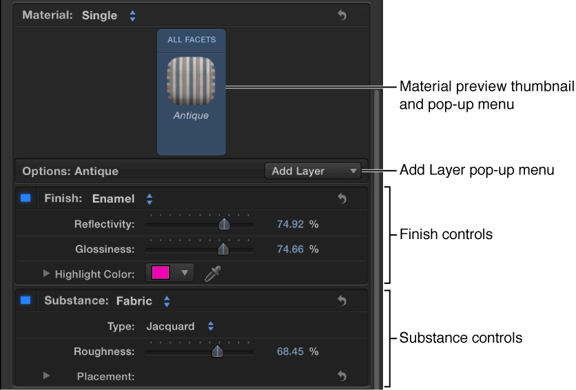 3D Text Inspector showing material with multiple layers