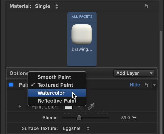 3D Text Inspector showing Paint pop-up menu