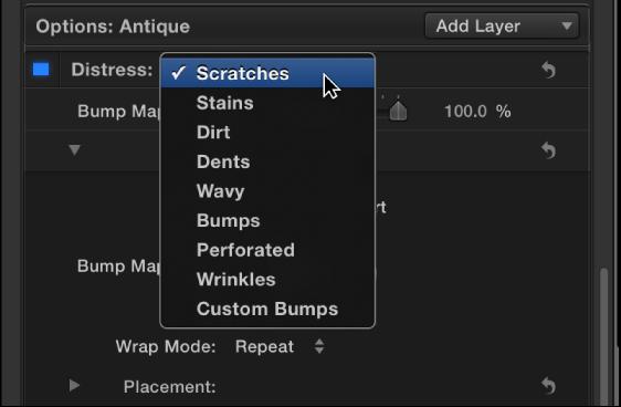 3D Text Inspector showing Distress pop-up menu