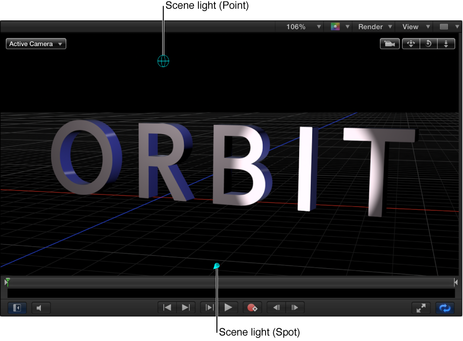 Canvas showing 3D text object with a scene light