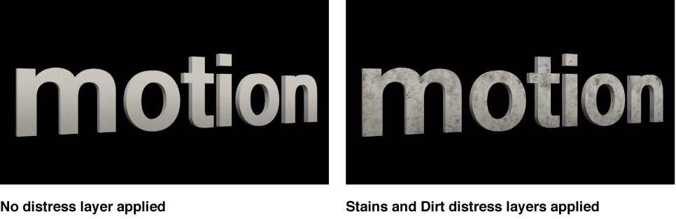 3D text in Canvas with no applied distress layers and with applied Stains and Dirt distress layers