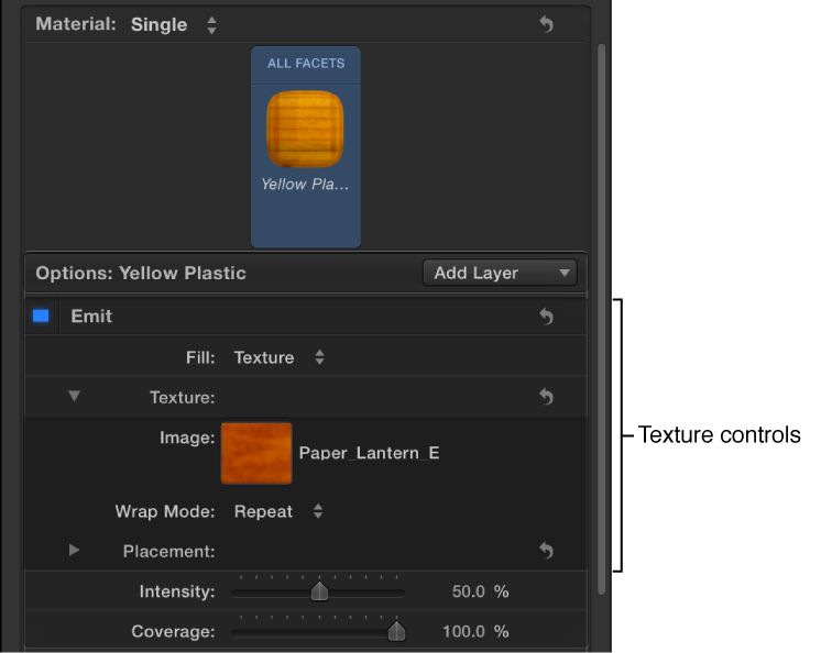 Texture controls in the Appearance pane of the Text Inspector