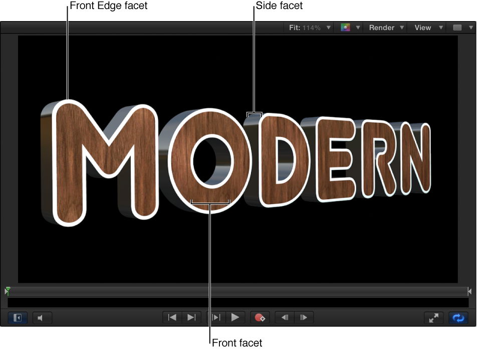 3D text in Canvas showing white Front Edge facet, metal Side facet, and wood Front facet