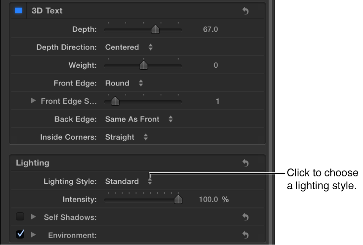 Lighting Style pop-up menu in the Appearance pane of the Text Inspector