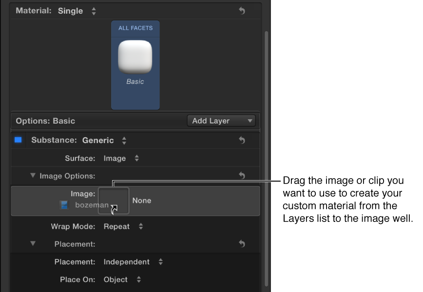 Dragging custom image to the Image well in the Image Options controls in the Appearance pane of the Text Inspector