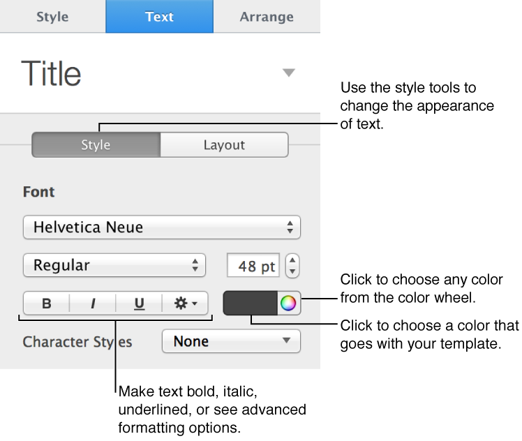 Controls for choosing text style in Text pane of Format inspector