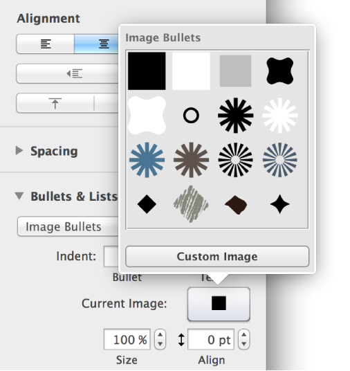 Image Bullets pop-up menu.