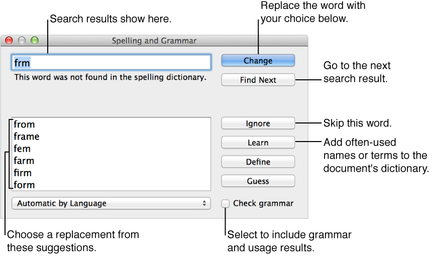 Spelling and Grammar window