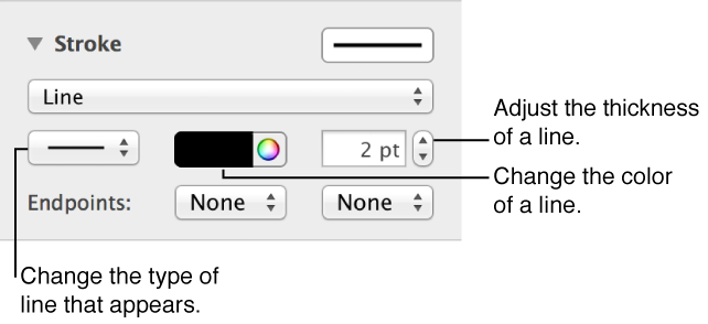 Controls for changing the endpoints, thickness, and color of a line