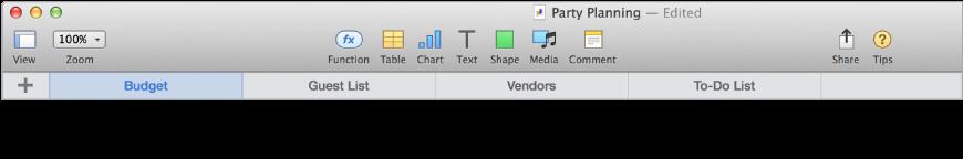 Tab bar for adding a new sheet and reorganizing sheets