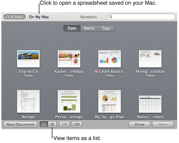 Open window showing spreadsheets in iCloud