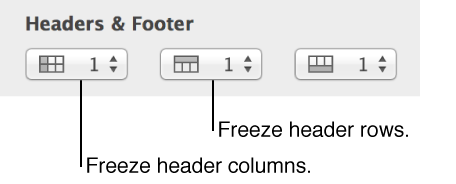Three pop-up menus for header columns, header rows, and footers
