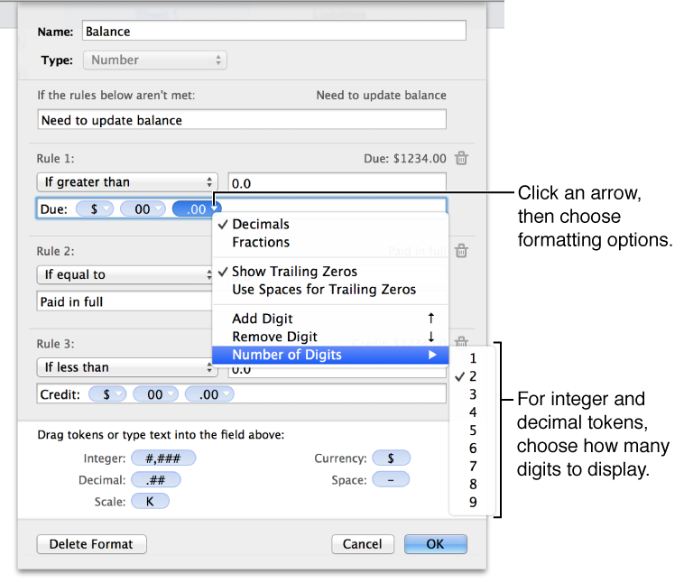 Click a disclosure triangle on a token to choose formatting options.