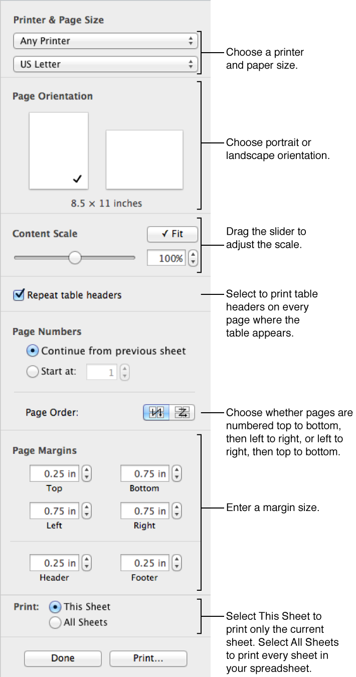Use the controls in the Print Setup pane to format your spreadsheet for printing