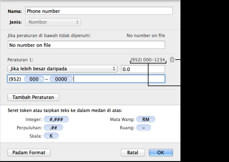 Format sel nombor tersuai dengan peraturan