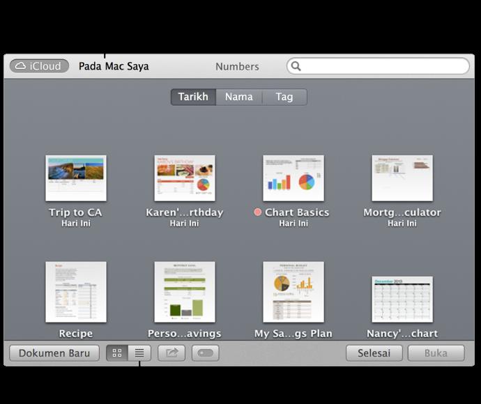 Buka tetingkap yang menunjukkan hamparan dalam iCloud