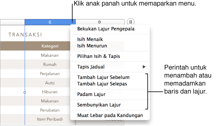 Imej menu lajur jadual dengan arahan untuk menambah atau memadamkan baris dan lajur