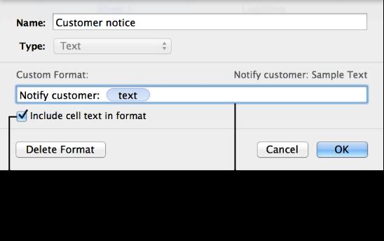 Format sel teks tersuai