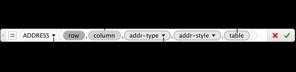 Bấm để chọn đối số trong trình sửa công thức, sau đó chọn một tham chiếu ô, giá trị hoặc chèn hàm