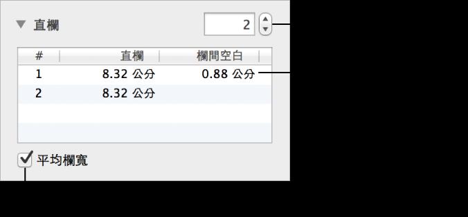 直欄區段中用來更改直欄數和每欄寬度的控制項目