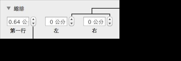 「格式」檢閱器的「佈局」面板,其中顯示縮排和頁邊的控制項目。