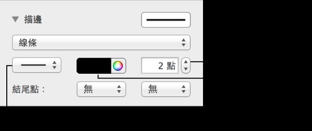 用來更改線條結尾點、厚度和顏色的控制項目