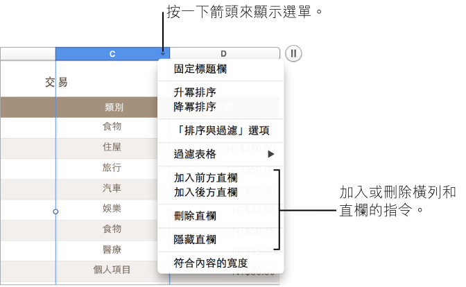 表格直欄選單的影像,包含加入或刪除橫列和直欄的指令。