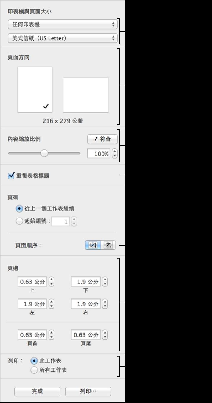 使用「列印設定」面板中的控制項目來格式化試算表以進行列印
