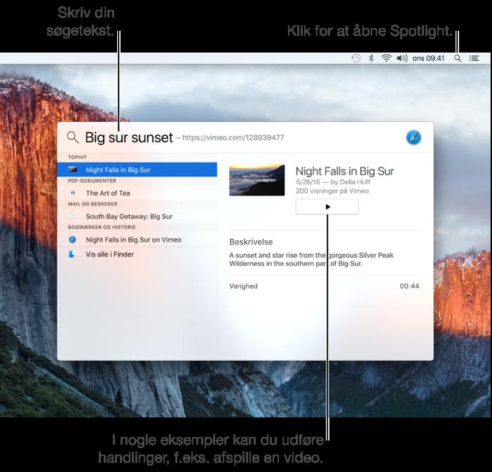 Spotlight-menu, der viser et eksempel på en søgning og et videoresultat, der kan afspilles