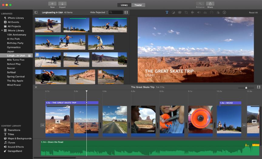 Example of iMovie window