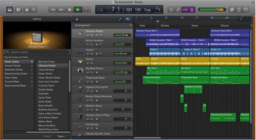 Example of GarageBand window