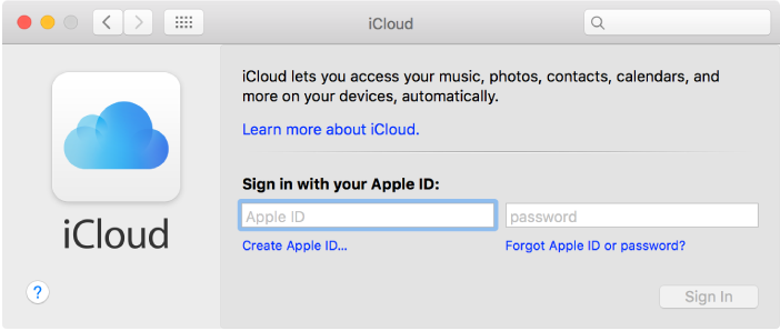 iCloud pane of System Preferences, ready for entry of Apple ID name and password