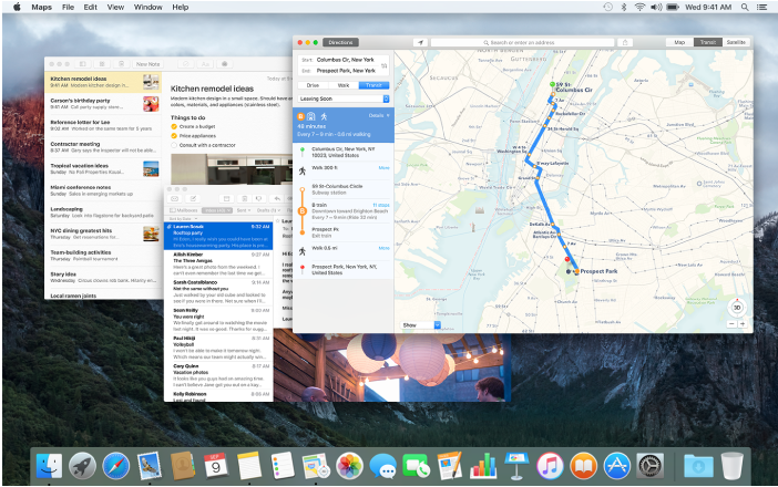Notes, Mail, and Maps windows open on the desktop