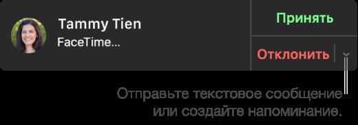 В окне входящего звонка нажмите всплывающее меню рядом с «Отклонить», чтобы отправить текстовое сообщение или создать напоминание