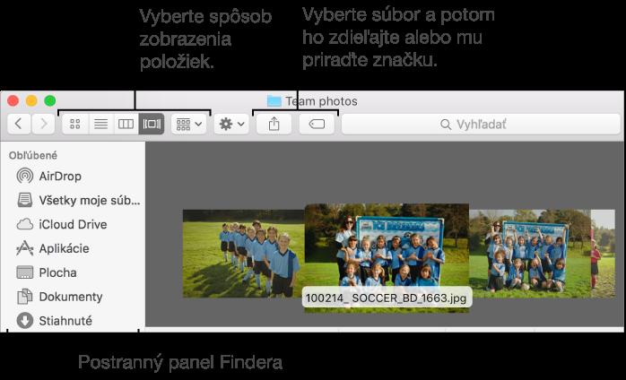 Príklad okna aplikácie Finder