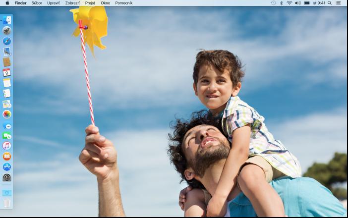 Plocha sDockom na ľavom okraji obrazovky avlastným obrázkom na ploche