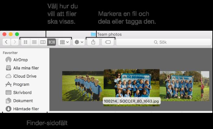 Exempel på ett Finder-fönster