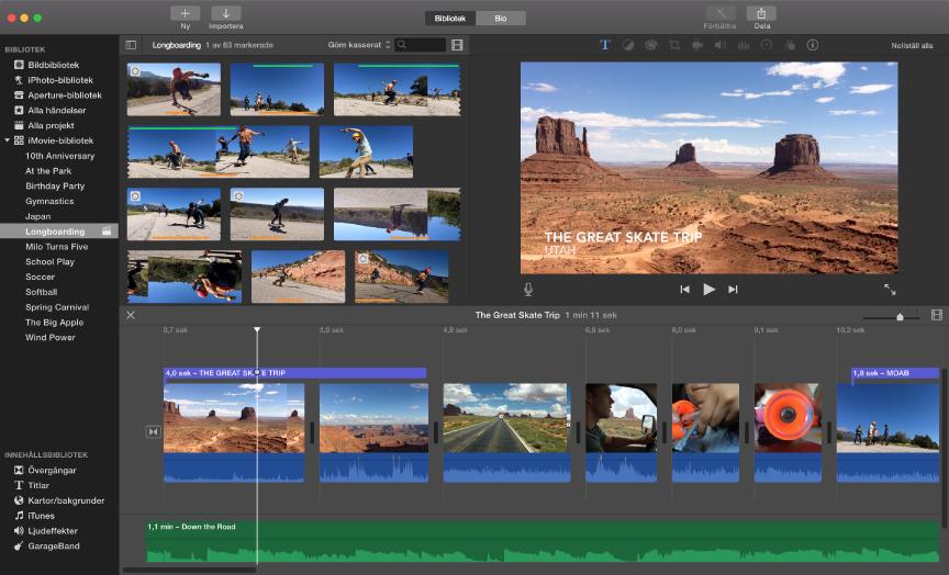Exempel på ett iMovie-fönster