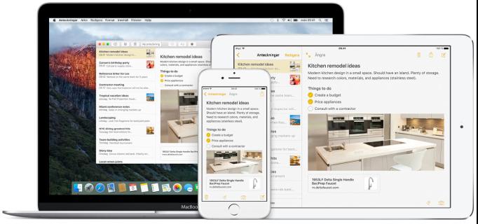Samma anteckning på Mac, iPad och iPhone