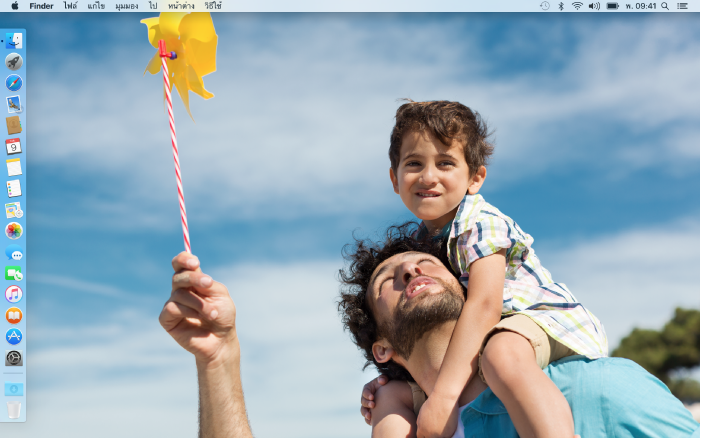 เดสก์ท็อปที่มี Dock ที่ขอบด้านซ้ายของหน้าจอและรูปภาพเดสก์ท็อปที่กำหนดเอง