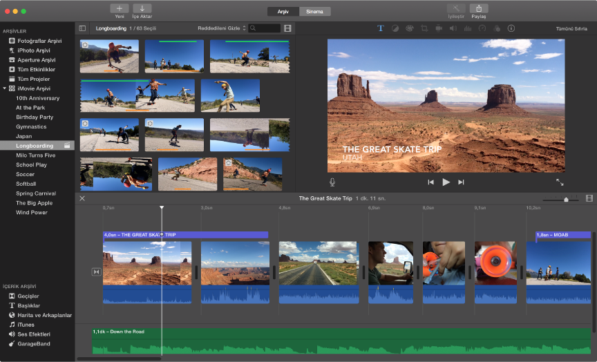iMovie penceresi örneği