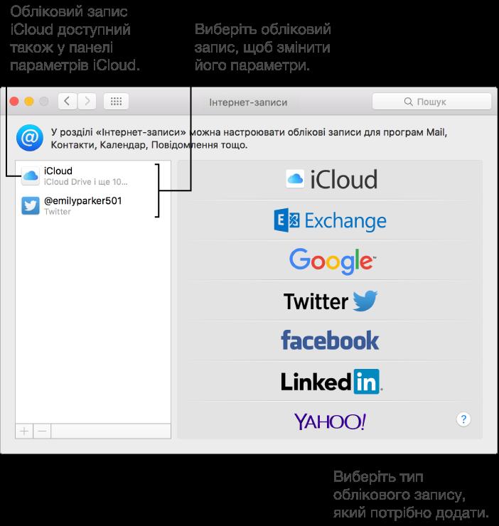 Панель «Інтернет-записи» в розділі «Системні параметри», у якій наведено облікові записи iCloud і Twitter праворуч, а також доступні типи облікових записів ліворуч