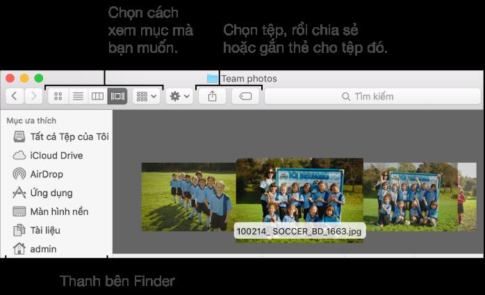 Ví dụ về cửa sổ Finder