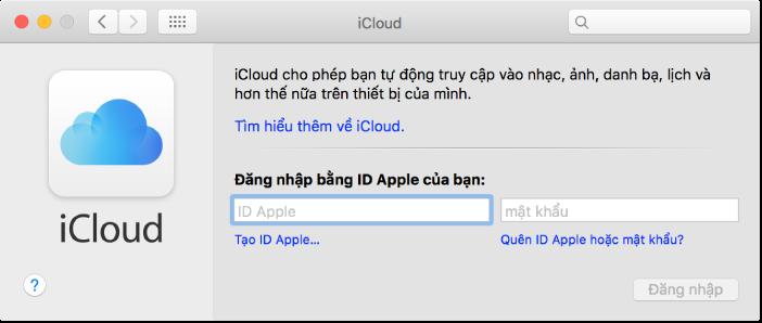 khung iCloud của Tùy chọn Hệ thống, sẵn sàng cho việc nhập tên và mật khẩu ID Apple