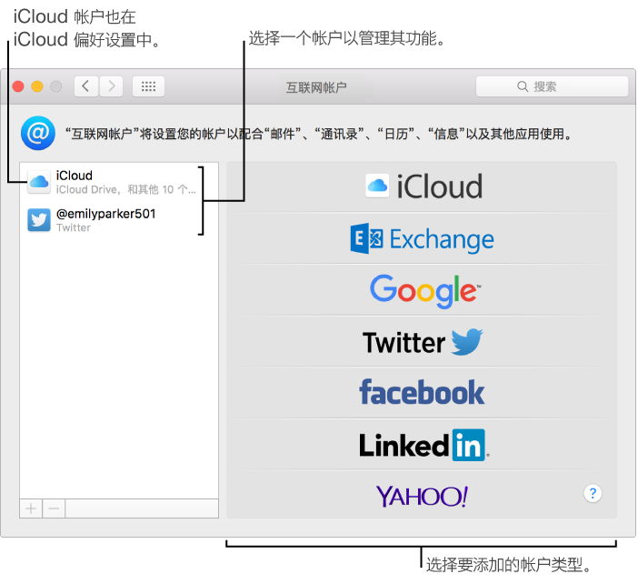 """""""系统偏好设置""""的""""互联网帐户""""面板,其中 iCloud 和 Twitter 帐户列在右侧,而可用帐户类型列在左侧"""