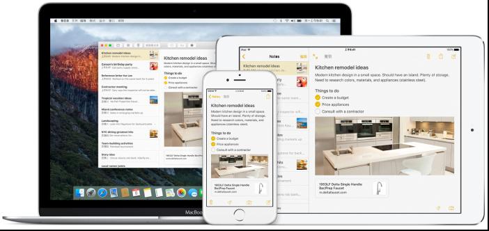 Mac、iPad 和 iPhone 上的同一备忘录