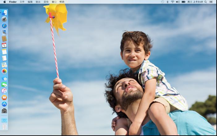 Dock 位于屏幕左侧边缘且使用了自定桌面图片的桌面
