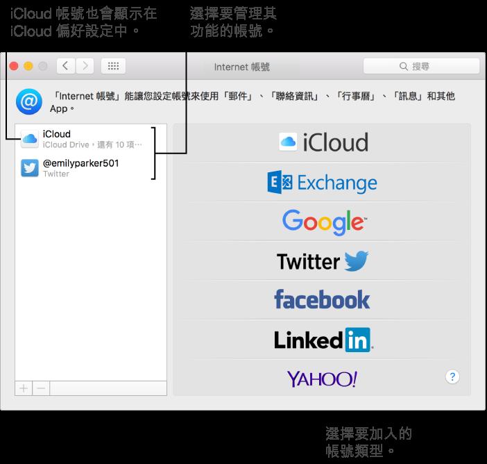 「系統偏好設定」的「Internet 帳號」面板,其右側列出 iCloud 和 Twitter 帳號,而左側則列出可使用的帳號類型